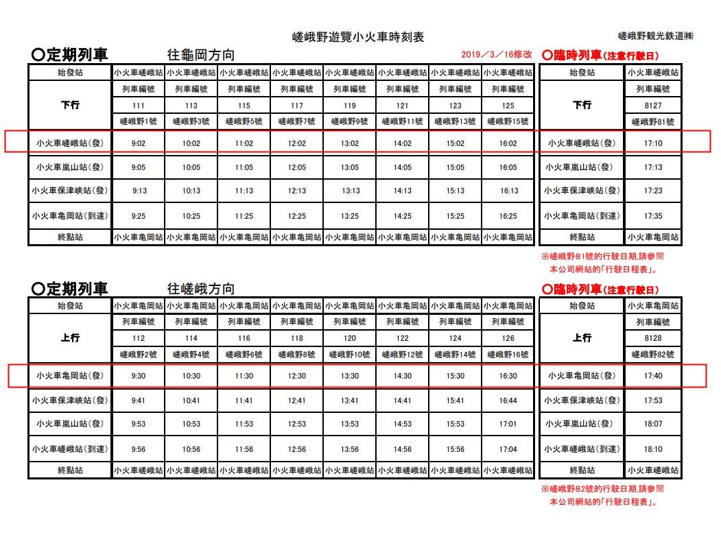 日本京都嵯峨野嵐山小火車車票 嵯峨野嵐山小火車時刻表